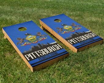 Pittsburgh State Flag Skyline Cornhole Board Set