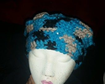 Blue Black and Gray Slouch Hat