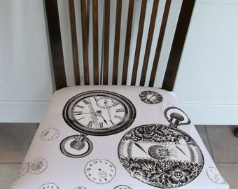 Vintage Accent Spindle Back  Chair Reupholstered  in Vintage Cotton with Old Time Clocks.