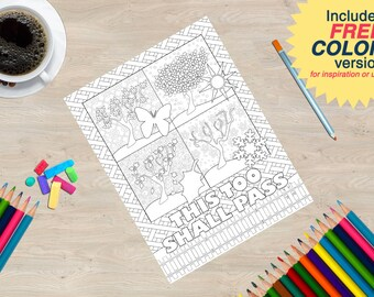 Coloring Book page from the Sobriety Garden Coloring Book with AA slogans: This Too Shall Pass