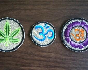 Hemp patches Om symbols and hemp leaf