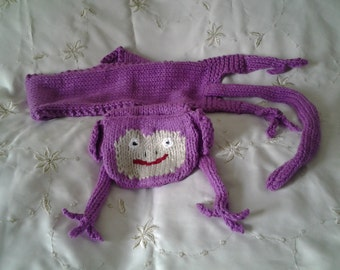"""hand knitted pink cheeky monkey scarf 36"""" long"""