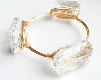Large Clear Crystal Bangle