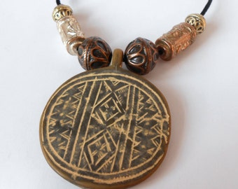 aztec disc necklace