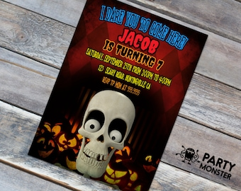 Halloween Birthday Invitation, Skeleton invitation, Halloween Party, DIY, Skull invitation, Halloween Party