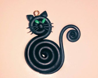 Polymer Clay and Acrylic Paint Black Cat Pendant