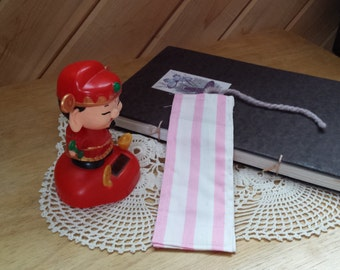 Plain Pink and White Striped Bookmark
