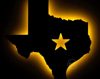 Lighted Texas State Sign - Texas State Outline Wall Art and Wall Lamp
