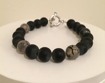 Men's Beaded Bracelet : Solid with 3 Accent Beads