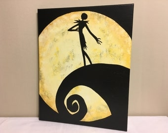 """Jack's Lament""  Painted Canvas Inspired by Tim Burton's The Nightmare Before Christmas"