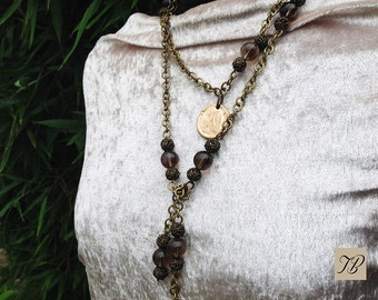 NECKLACE beads, smoky gray glass, necklace and medals, chic necklace, feminine necklace.