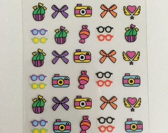 Nail decals sticker, bow,glasses cupcakes