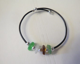 Beach Glass Bracelet on Memory Wire