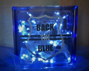 Back The Blue Glass Block