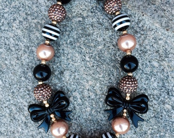 chunky necklace, bubblegum necklace, black & gold, girls necklace, birthday necklace, princess necklace, first birthday necklace, 1st party