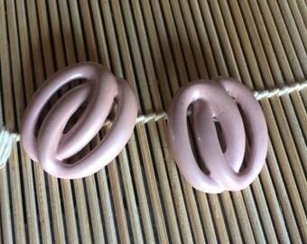 Peachy blush-colored vintage metal shoe clips (pair)
