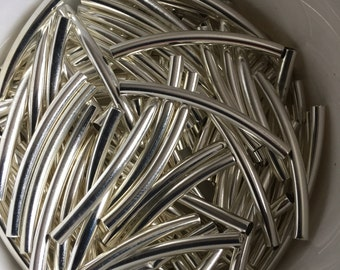 25mm silver tube beads x 100