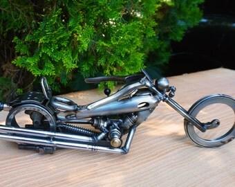 "Bobber Motorcycle 16 ""long x 5"" high Recycled metal art"