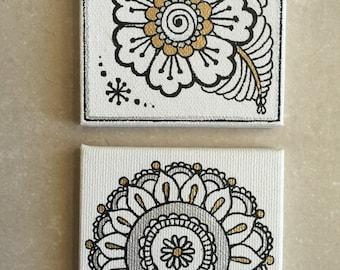 Set of 2 miniature mandala/flower