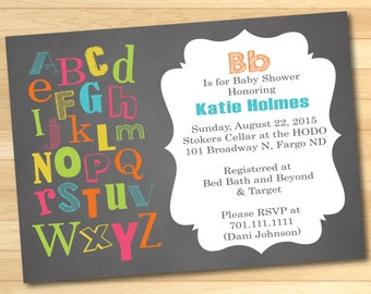 Colorful ABC's Baby Shower Invitation