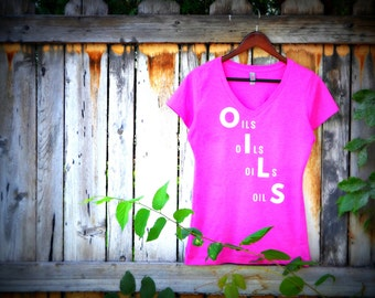 Pink Oils Oils Oils Oils V-Neck Tee, Essential Oil Shirt, Essential Oil Clothing, Women Oil Shirt, Essential Oil T-Shirt