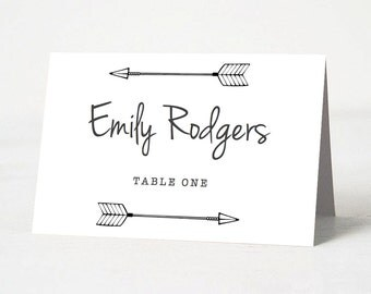 DIY Wedding Place Card Template | INSTANT Download | Hand Drawn Arrows Place Card Template | Editable & Printable Template