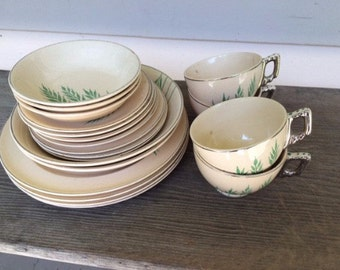 Leigh Potter's 1930s dishes - beautiful cream with Green Wheat design, Art Deco, Leigh Ware