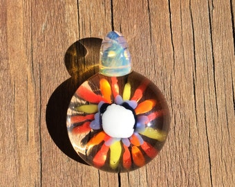 Glass Implosion Flower Pendant for Necklace or Keychain