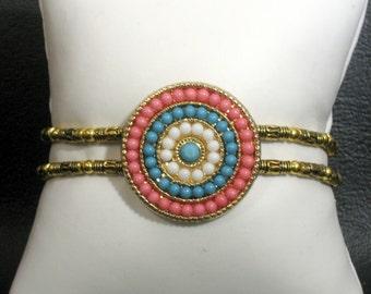Multi-Color Round Dot Medallion Bracelet