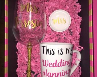 Engagement Gift set, personalized mrs glass/mug, ring dish