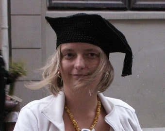 Black crochet square beret, masters hat