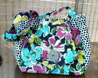 Polka Dot and Flower Tulip Purse