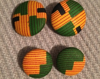 African Print fabric button earring