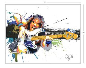 Steve Harris of Iron Maiden, 11x14 in, 29x36 cm, Signed Art Print w/ COA