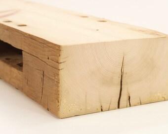 Reclaimed Wood Fireplace Mantel - 59 Inch Rustic Hand Hewn Mantel (StoriedBoards) #160012K