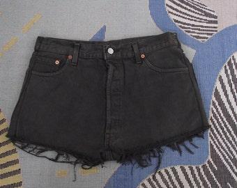 1990's Levis 501 Shorts faded black, Levi shorts, vintage shorts, jean shorts, Levis, vintage denim