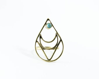 Astral ring in Brass with Turquoise Stone