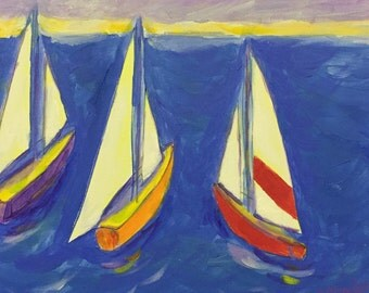 Sailboats I-painting