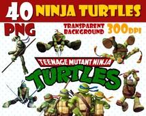 40 Ninja Turtles 300dpi PNG transparent background instant download Ninja Turtles party Images, Scrapbook, Digital download Ninja Turtles