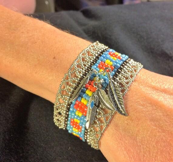 NO 77 Hand woven glass beaded bracelet