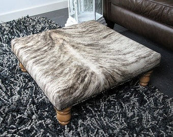 Medium Grey Beige Brindle Square Cowhide Footstool 102. Choice of legs. Real hair on hide foot stool 61cm x 61cm
