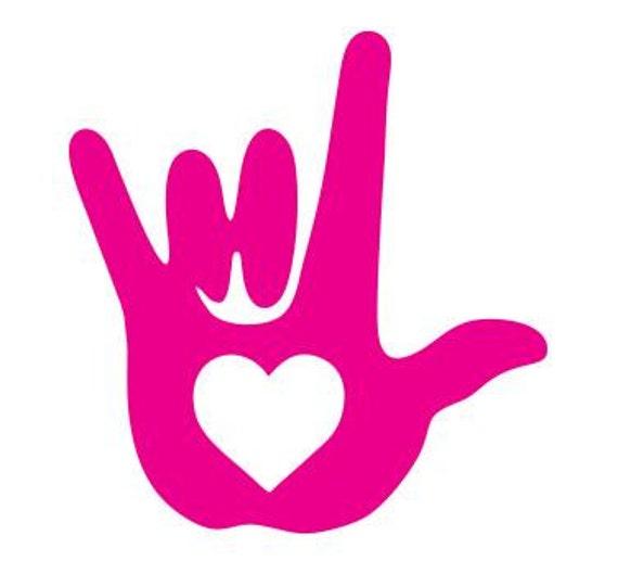 ASL I Love You Sign Language Heart Vinyl Decal Laptop ...
