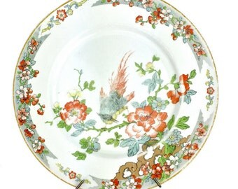 Chinoiserie Porcelain Plate of Wandering Phoenix on Flowering Tree Branch w/ Bracket Backing for Wall Hanging