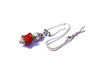 Vintage necklace Silver 925, red murano glass bead with wavy patterns
