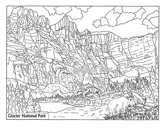 nepal coloring pages - glacier national park coloring page animals nature