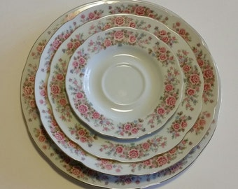 Remington China By Red Sea 4 pc Place Setting Set/Remington China/Red Sea China/Vintage China Set/4 pc Setting/Vintage Wedding Place Setting