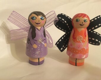 Peg doll purple and orange fairy with sparkles