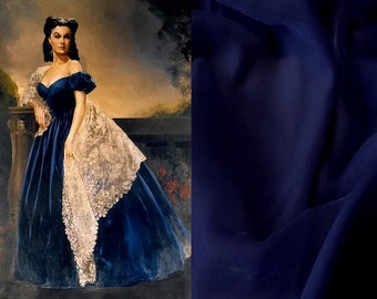 Custom Made Gone With the Wind Victorian Civil War Blue Velvet Gown