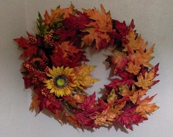 Fall Wreath with Sunflower