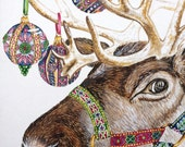 x50 pack of Reindeer Design Charity Christmas Cards with envelopes